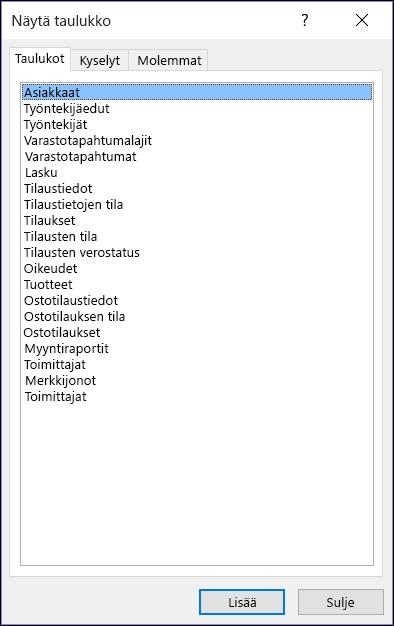 Accessin Näytä taulukko -valintaikkuna, jossa näkyvät taulukoiden nimet