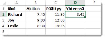 Yhden ajan vähentäminen toisesta kuluneen ajan laskemiseksi