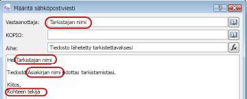 Mahdollisia hakujen lisäämisalueita korostava sähköpostiviesti