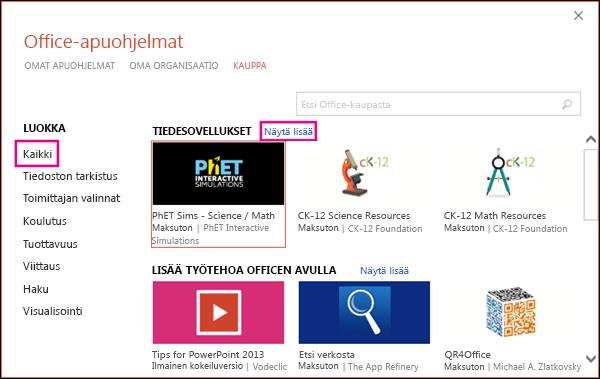 Office-apuohjelmien valintaikkuna, jossa Kaikki- ja Näytä lisää -linkit korostettu
