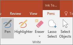 Officen käsinkirjoitustyökalujen Kynä-painike