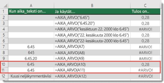 Erilaisten AIKA_ARVO-funktioiden tulokset