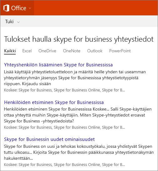 Näyttökuva Skype For Businessin yhteyshenkilöiden haun tuloksista Officen tukisivustossa.
