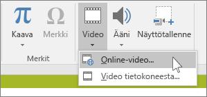 Valintanauhan painike, jolla lisätään online-video PowerPointissa.