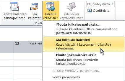 Valintanauhan Jaa julkaistu kalenteri -komento