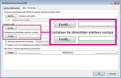 Allekirjoitukset ja taustamallit -valintaikkunan Fontti-komento
