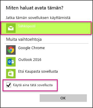 Valitse sähköpostisovellus, jota haluat käyttää