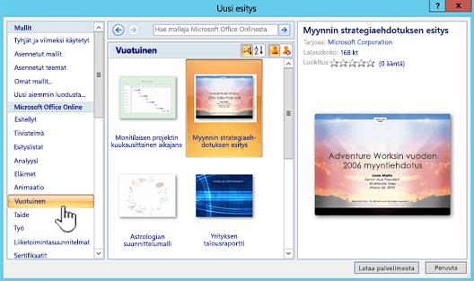 Office Onlinen mallin valinta