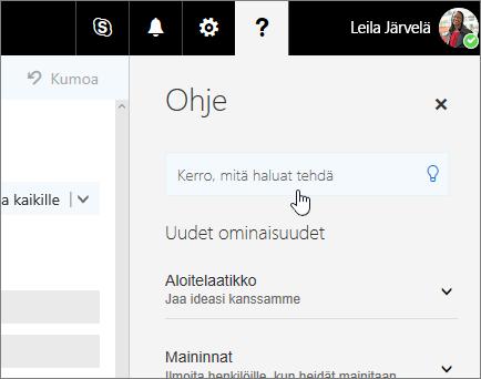 Näyttökuva Outlookin verkkoversion Ohje-ruudusta, jossa näkyy Kerro-ruutu.