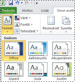 Excel 2010:n teemavalikoima