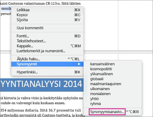 Synonyymien luettelo näkyy Synonyymisanasto korostettuna.