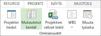 Projekti-välilehden Mukautetut kentät -komento