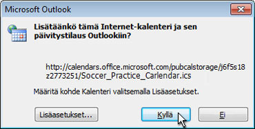 Koko Internet-kalenterin lisääminen Outlookiin -valintaikkuna