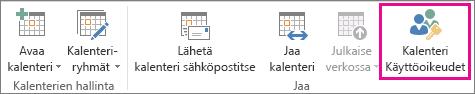 Outlook 2013:n Aloitus-välilehden Kalenterin käyttöoikeudet -painike