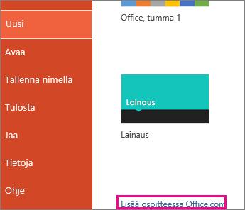 Lisätietoja Office.com-sivustossa