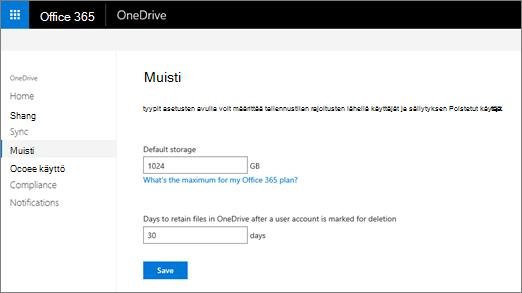 OneDrive-hallintakeskuksen Tallennustila-välilehti