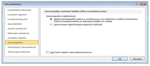 Valvontakeskuksen Sanomapalkki-alue