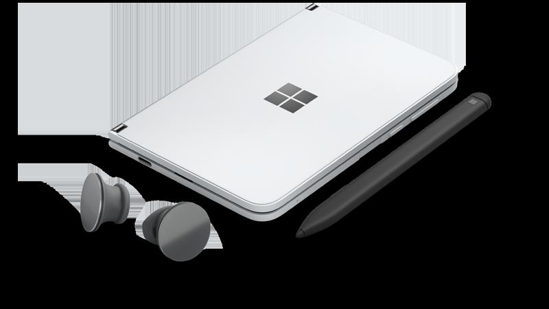 Surface Duo, jossa on Surfacen nappi kuulokkeet ja ohut kynä