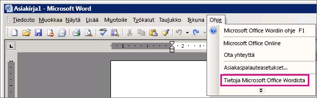 Ohje > Tietoja Microsoft Office Wordista Word 2003:ssa