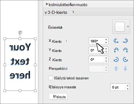 WordArt, jossa on 180 asteen kierto