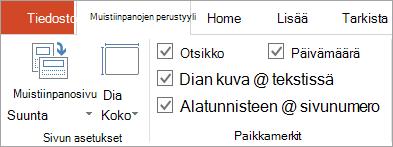 Muistiinpanojen perustyyli-välilehden paikkamerkki-valintaruudut