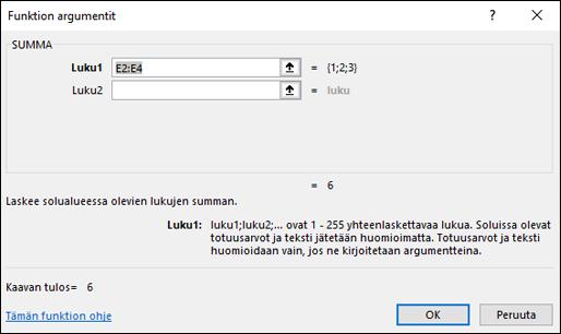 Ohjattu Excel-funktio-toiminto