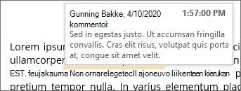 Tekstiin sidottu kommentti ja kohde ohje