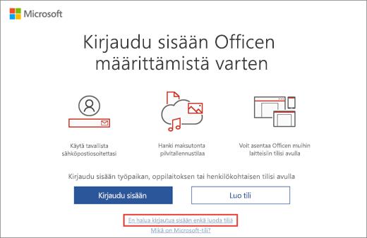 Näyttää linkin, jota napsauttamalla voit antaa Microsoft HUP -tuoteavaimen
