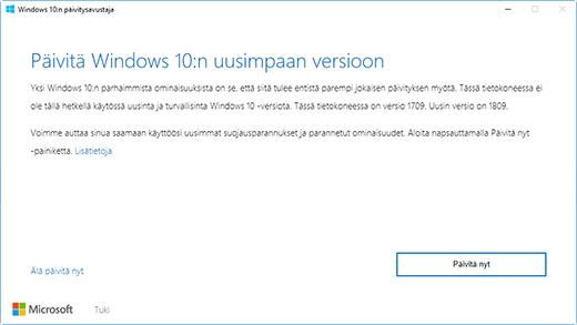 """Windows 10 -version 1809-valintaikkuna, joka ilmoittaa käyttäjälle: """"Päivitä uusimpaan Windows 10 -versioon"""""""