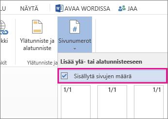 Kuva valintaruudusta, jonka avulla asiakirjaan voi lisätä sivunumerojen lisäksi sivujen kokonaismäärän (sivu X/Y).