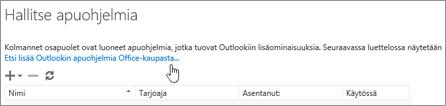 Näyttää Apuohjelmien hallinta -sivun osan, jossa on luettelo asennetuista apuohjelmista sekä linkki, jonka avulla Office-kaupasta voi etsiä lisää Outlook-apuohjelmia.