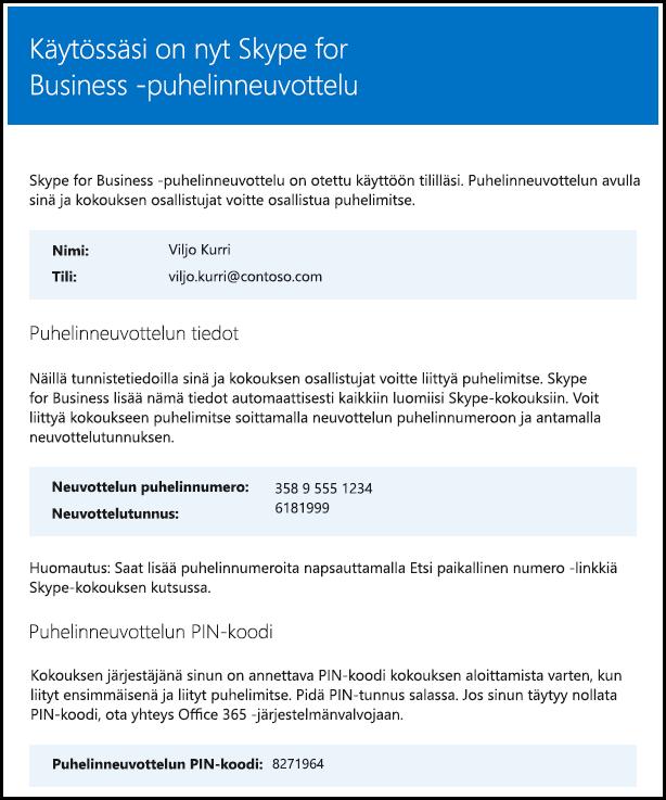 Skype for Businessin käyttöoikeuden tarkistaminen