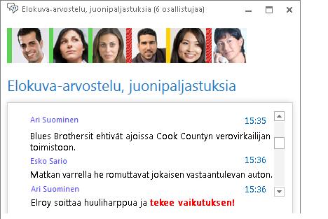 Näyttökuva keskusteluryhmän ikkunassa olevasta uudesta viestistä, jonka teksti on punainen ja lihavoitu ja johon on lisätty hymiö.