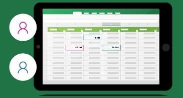 Laskentataulukko, jossa on tavoitettavuuden ilmaisimet tiedostoa muokkaaville kaikille henkilöille
