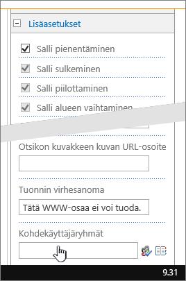 WWW-osan ominaisuuksien lisäasetusosa, jossa käyttäjäryhmä on korostettuna