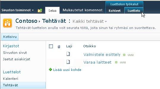 Luettelon työkalut -kohdan Luettelot-välilehti SharePoint-sivustossa