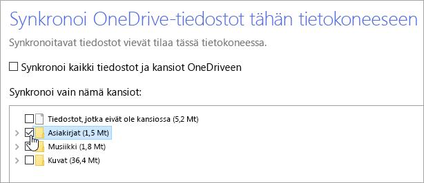 """Näyttökuva, jossa näytetään """"Synkronoi OneDrive-tiedostot tähän tietokoneeseen""""-valintaikkuna."""