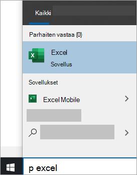 Näyttökuva sovelluksen hakemiseen Windows 10:n haussa