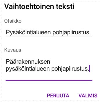 Vaihtoehtoisen tekstin lisääminen kuviin OneNote for Androidissa
