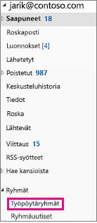 Outlook 2016:n siirtymisruutu, jossa ryhmät on korostettu