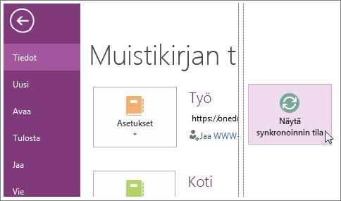 Tarkista OneNote-muistikirjojen synkronoinnin tila.