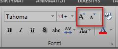 Excelin valintanauhan Fontti-ryhmä