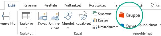 Asenna Office-apuohjelmat käyttämällä Office-valintanauhan Lisää-välilehden Store-painiketta