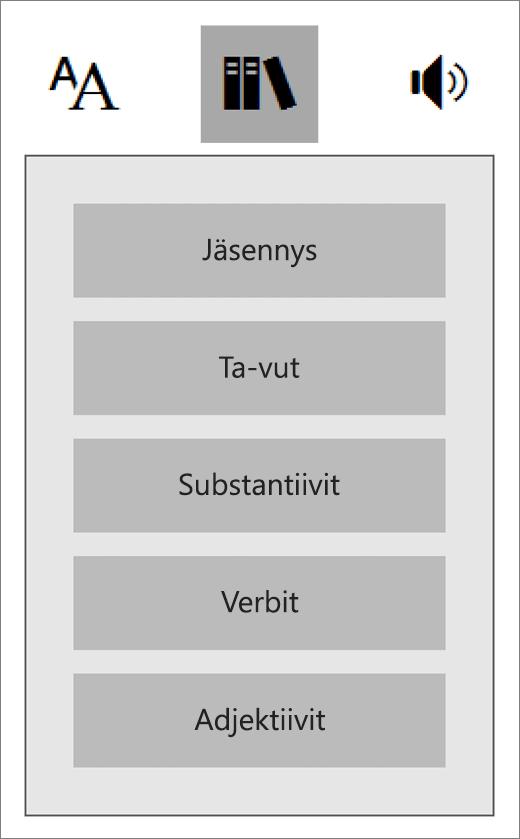 Kuuluu Syventävän lukuohjelman Puhe-valikkoon ja OneNoten oppimistyökaluihin.