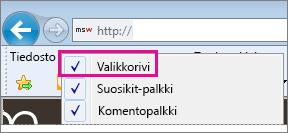 Valikkorivin näkyminen Internet Explorerissa