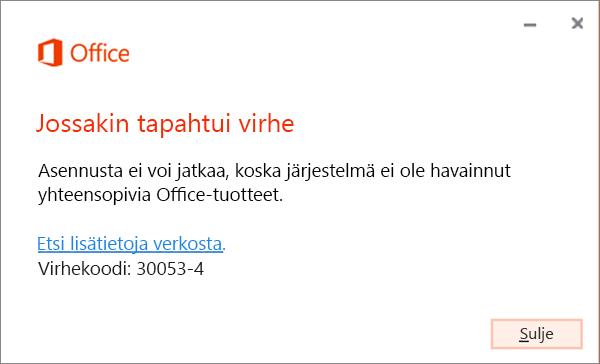 Järjestelmässä tapahtui virhe -virhesanoma 30053