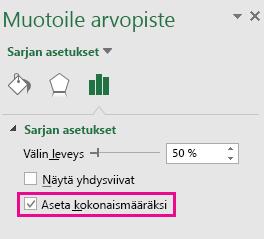 Office 2016 for Windowsin Muotoile arvopiste -tehtäväruutu, jossa on valittuna Set as total (Määritä summaksi) -asetus