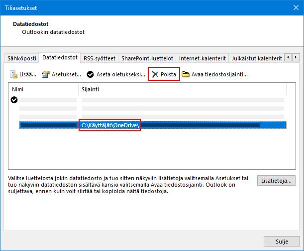 Outlookin Data tiedostot-valinta ikkuna