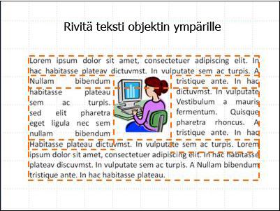 Dia, johon on lisätty objekteja, tekstiruutuja ja valmis teksti.