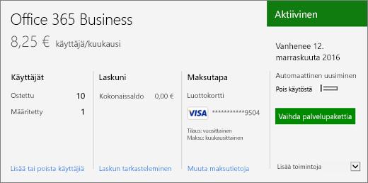 Office 365 -hallintakeskuksen Tilaukset-sivun tilaus, josta näkyy käytössä oleva tilaus ja sen tila.